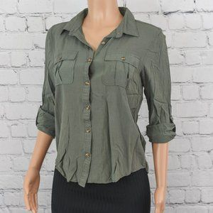 Love Notes olive green button up shirt
